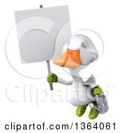 Clipart Of A 3d White Gardener Duck Flying With A Watering Can And Blank Sign On A White Background Royalty Free Illustration