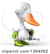 Clipart Of A 3d White Gardener Duck Using A Watering Can On A White Background Royalty Free Illustration