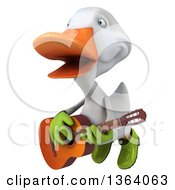 Clipart Of A 3d White Gardener Duck Flying Singing And Playing A Guitar On A White Background Royalty Free Illustration