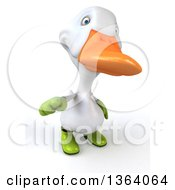 Clipart Of A 3d White Gardener Duck Pointing Outwards On A White Background Royalty Free Illustration