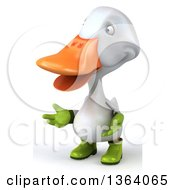 Clipart Of A 3d White Gardener Duck Presenting On A White Background Royalty Free Illustration