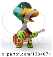 3d Gardener Mallard Drake Duck Singing And Playing A Guitar On A White Background