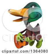 3d Gardener Mallard Drake Duck Flying And Playing A Guitar On A White Background