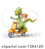 Clipart Of A 3d Green Dragon Giving A Thumb Up And Riding A Yellow Scooter On A White Background Royalty Free Illustration