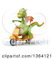 Clipart Of A 3d Green Dragon Giving A Thumb Down And Riding A Yellow Scooter On A White Background Royalty Free Illustration
