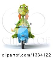 Clipart Of A 3d Green Dragon Riding A Blue Scooter On A White Background Royalty Free Illustration