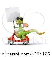 Clipart Of A 3d Green Dragon Wearing Sunglasses Holding A Blank Sign And Riding A Red Scooter On A White Background Royalty Free Illustration