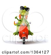 Clipart Of A 3d Green Dragon Wearing Sunglasses Giving A Thumb Up And Riding A Red Scooter On A White Background Royalty Free Illustration
