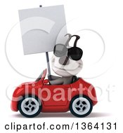 Clipart Of A 3d Jack Russell Terrier Dog Wearing Sunglasses Holding A Blank Sign And Driving A Red Convertible Car On A White Background Royalty Free Illustration