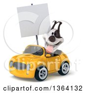 Clipart Of A 3d Jack Russell Terrier Dog Holding A Blank Sign And Driving A Yellow Convertible Car On A White Background Royalty Free Illustration