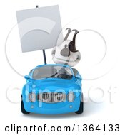 Clipart Of A 3d Jack Russell Terrier Dog Holding A Blank Sign And Driving A Blue Convertible Car On A White Background Royalty Free Illustration