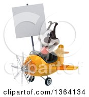 Clipart Of A 3d Jack Russell Terrier Dog Aviator Pilot Holding A Blank Sign And Flying A Yellow Airplane On A White Background Royalty Free Illustration