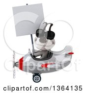 Clipart Of A 3d Jack Russell Terrier Dog Aviator Pilot Wearing Sunglasses Holding A Blank Sign And Flying A White And Red Airplane On A White Background Royalty Free Illustration
