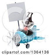 Clipart Of A 3d Jack Russell Terrier Dog Aviator Pilot Holding A Blank Sign And Flying A Blue Airplane On A White Background Royalty Free Illustration