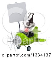 Clipart Of A 3d Jack Russell Terrier Dog Aviator Pilot Holding A Blank Sign And Flying A Green Airplane On A White Background Royalty Free Illustration