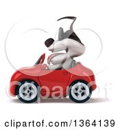 Clipart Of A 3d Jack Russell Terrier Dog Wearing Sunglasses And Driving A Red Convertible Car On A White Background Royalty Free Illustration
