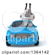 Clipart Of A 3d Jack Russell Terrier Dog Driving A Blue Convertible Car On A White Background Royalty Free Illustration