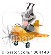Clipart Of A 3d Jack Russell Terrier Dog Aviator Pilot Flying A Yellow Airplane On A White Background Royalty Free Illustration