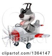 Clipart Of A 3d Jack Russell Terrier Dog Aviator Pilot Wearing Sunglasses And Flying A White And Red Airplane On A White Background Royalty Free Illustration