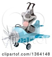 Clipart Of A 3d Jack Russell Terrier Dog Aviator Pilot Flying A Blue Airplane On A White Background Royalty Free Illustration