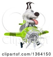 Clipart Of A 3d Jack Russell Terrier Dog Aviator Pilot Flying A Green Airplane On A White Background Royalty Free Illustration