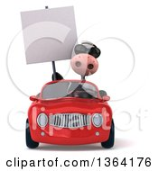 Clipart Of A 3d Cow Wearing Sunglasses Holding A Blank Sign And Driving A Red Convertible Car On A White Background Royalty Free Illustration