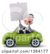 Clipart Of A 3d Cow Holding A Blank Sign And Driving A Green Convertible Car On A White Background Royalty Free Illustration