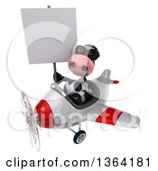 Clipart Of A 3d Cow Aviator Pilot Holding A Blank Sign Wearing Sunglasses And Flying A White And Red Airplane On A White Background Royalty Free Illustration