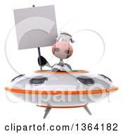 Clipart Of A 3d Cow Holding A Blank Sign And Flying A Ufo On A White Background Royalty Free Illustration