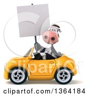Clipart Of A 3d Cow Holding A Blank Sign And Driving A Yellow Convertible Car On A White Background Royalty Free Illustration