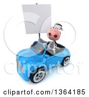 Clipart Of A 3d Cow Holding A Blank Sign And Driving A Blue Convertible Car On A White Background Royalty Free Illustration