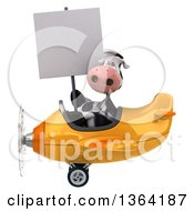 Clipart Of A 3d Cow Aviator Pilot Holding A Blank Sign And Flying A Yellow Airplane On A White Background Royalty Free Illustration