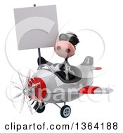 Clipart Of A 3d Cow Aviator Pilot Wearing Sunglasses Holding A Blank Sign And Flying A White And Red Airplane On A White Background Royalty Free Illustration