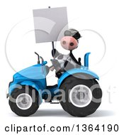 Poster, Art Print Of 3d Cow Farmer Wearing Sunglasses Holding A Blank Sign And Operating A Blue Tractor On A White Background