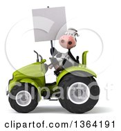Poster, Art Print Of 3d Cow Farmer Holding A Blank Sign And Operating A Green Tractor On A White Background