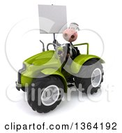 Clipart Of A 3d Cow Farmer Holding A Blank Sign And Operating A Green Tractor On A White Background Royalty Free Illustration