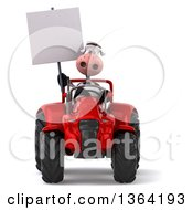 Poster, Art Print Of 3d Cow Farmer Holding A Blank Sign And Operating A Red Tractor On A White Background