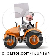 Clipart Of A 3d Cow Farmer Holding A Blank Sign And Operating An Orange Tractor On A White Background Royalty Free Illustration