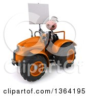 Poster, Art Print Of 3d Cow Farmer Holding A Blank Sign And Operating An Orange Tractor On A White Background