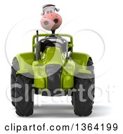 Poster, Art Print Of 3d Cow Farmer Operating A Green Tractor On A White Background