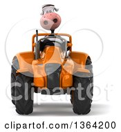 Poster, Art Print Of 3d Cow Farmer Operating An Orange Tractor On A White Background