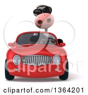 Clipart Of A 3d Cow Wearing Sunglasses And Driving A Red Convertible Car On A White Background Royalty Free Illustration