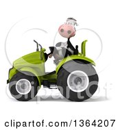 Poster, Art Print Of 3d Cow Operating A Green Tractor On A White Background