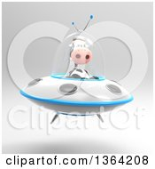Clipart Of A 3d Cow Flying A Ufo On A Shaded Background Royalty Free Illustration