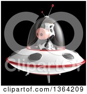 Clipart Of A 3d Cow Flying A Ufo On A Black Background Royalty Free Illustration