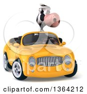 Clipart Of A 3d Cow Driving A Yellow Convertible Car On A White Background Royalty Free Illustration