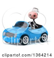 Clipart Of A 3d Cow Driving A Blue Convertible Car On A White Background Royalty Free Illustration
