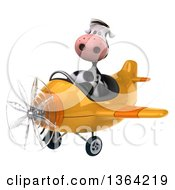 Clipart Of A 3d Cow Aviator Pilot Flying A Yellow Airplane On A White Background Royalty Free Illustration