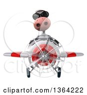 Clipart Of A 3d Cow Aviator Pilot Wearing Sunglasses And Flying A White And Red Airplane On A White Background Royalty Free Illustration