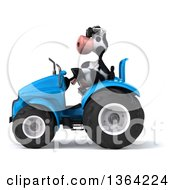 Poster, Art Print Of 3d Cow Farmer Wearing Sunglasses And Operating A Blue Tractor On A White Background